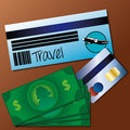 Travel documents over brown background vector illustration Stock Image