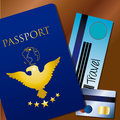 Travel documents over brown background vector illustration Royalty Free Stock Photography