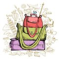 Travel Doddle with Luggage Royalty Free Stock Image