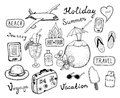 Travel doodle elements set hand drawn vector illustration of tourism and summer doodles isolated on white background Royalty Free Stock Image