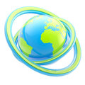 Travel and earth emblem: glossy planet sphere Royalty Free Stock Photo