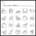 Travel Element Line Icon Set 2.Beach and Sea thin icons.Mono pac Royalty Free Stock Photo