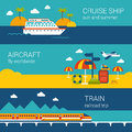 Travel flat banners set of cruise ship, aircraft, train