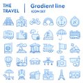Travel flat icon set, tourism symbols collection, vector sketches, logo illustrations, holiday signs blue gradient