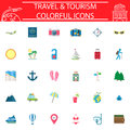 Travel flat icon set, Travel symbols collection, logo illustrations, transportation filled on white background.