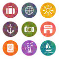 Travel flat icons on triangle backgrounds vector illustration Stock Image