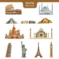 Travel flat vector icons set Royalty Free Stock Photo