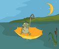 Travel of a frog cartoon the toad in hat floats on the river in yellow umbrella Stock Image