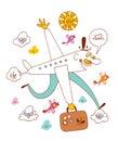 travel fun airplane character