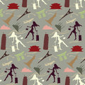 Travel girl seamless pattern in vintage colors Royalty Free Stock Images