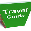 Travel guide book represents advice on traveling representing Royalty Free Stock Image