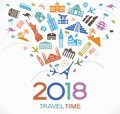 Travel and happy new year 2018 design background with icons and tourism landmarks.