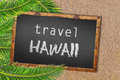 Travel Hawaii palm trees and blackboard on sandy beach Royalty Free Stock Photo