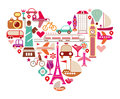 Travel heart love shape of with many isolated vector icons Stock Images
