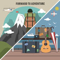 Travel hiking diagonal banner mountain vacation packages and tours adventure company pictograms flat abstract vector illustration Royalty Free Stock Photography