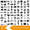 Travel and holiday big set of vector icons eps10 Royalty Free Stock Photo