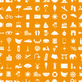 Travel and holiday big set of vector icons seamless pattern eps10 Royalty Free Stock Photo