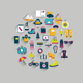 Travel icon circle concept retro flat collection Stock Images
