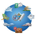 Travel icon set different kind of and tourism Stock Image
