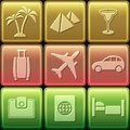 Travel icon set on glossy buttons vector illustration Royalty Free Stock Photo