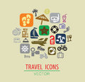 Travel icon vector color set on beige Stock Photos