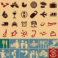 Travel icons collection retro vintage style set Stock Photo
