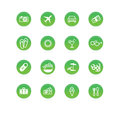 Travel icons green Stock Photography