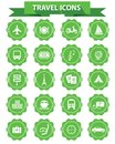 Travel icons green version vector stamp Stock Photography