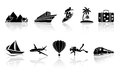 Travel icons set of black illustration Stock Image