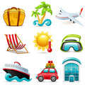 Travel icons set of colored Royalty Free Stock Image