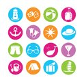 Travel icons set of in colorful buttons Royalty Free Stock Images