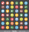 Travel icons set of colorful design elements Royalty Free Stock Photography