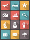Travel icons set editable vector Royalty Free Stock Image