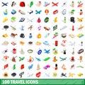 100 travel icons set, isometric 3d style