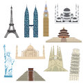 Travel icons set of most popular destinations Royalty Free Stock Image