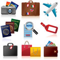 Travel icons set of relating to and tourism Stock Image