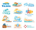 Travel icons set of summer vacation Stock Photos