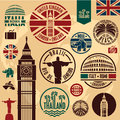 Travel icons stickers set stamps collection Royalty Free Stock Photo