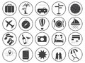 Travel icons vector collection basic black set Royalty Free Stock Photo
