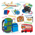 Travel illustration vacation icon set of hand drawn icons Stock Photography