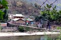 Travel india villagers walking on the hanging bridge in arunachal pradesh Royalty Free Stock Photos