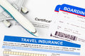 Travel insurance application form with plane model Royalty Free Stock Photo