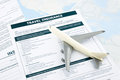 Travel insurance form and   plane model Royalty Free Stock Photo