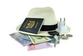 Travel Items including Passport, Keys & Money Stock Images