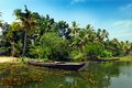 Travel kerala a horizontal view of the backwater in Stock Image