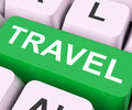 Travel Key Means Explore Or Journeys Royalty Free Stock Photo