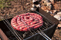 Travel kielbasa cooking. Uncooked sausages Royalty Free Stock Photo