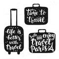 Travel label set with hand written lettering motivational inscription in suitcase silhouettes