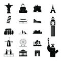 Travel landmark around the world icons Royalty Free Stock Photo