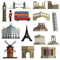 Travel landmark flat icons set Royalty Free Stock Photo